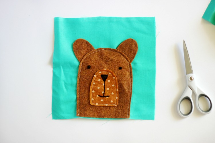teddy bear face with hand embroidery on rice pack