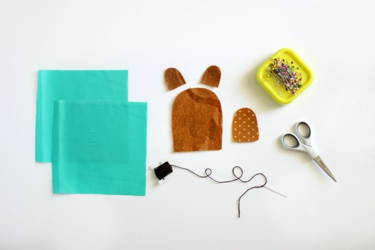 fabric pieces needed for teddy bear rice pack