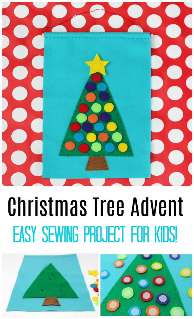 Christmas tree advent calendar for kids to sew