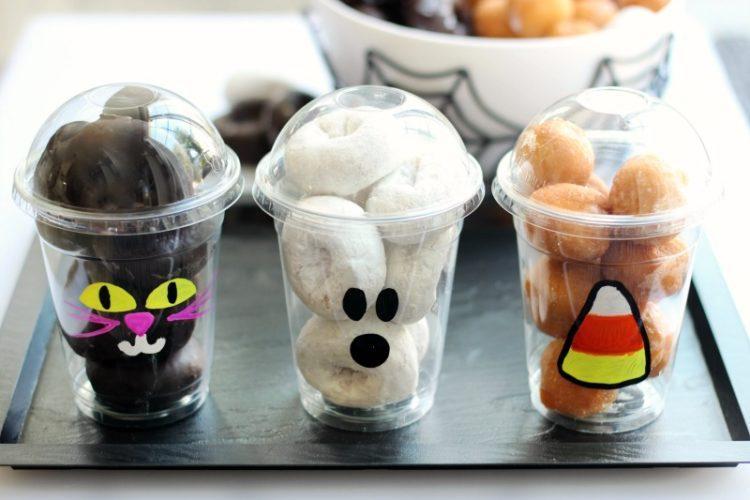 3 halloween donut cups