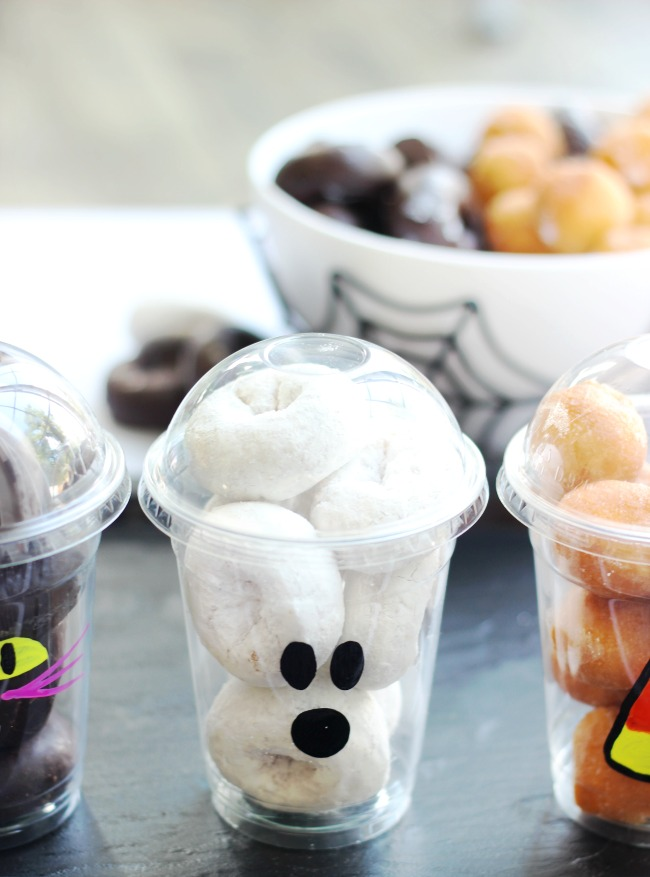 ghost donut cup with powdered donuts