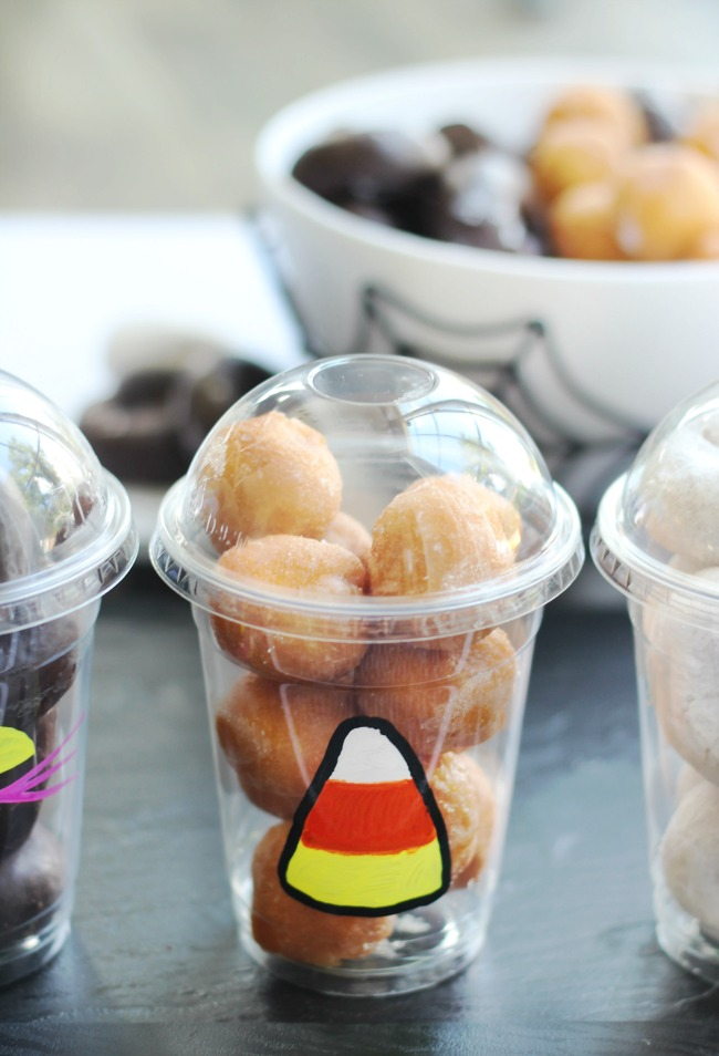 candy corn donut cup with plain donut holes