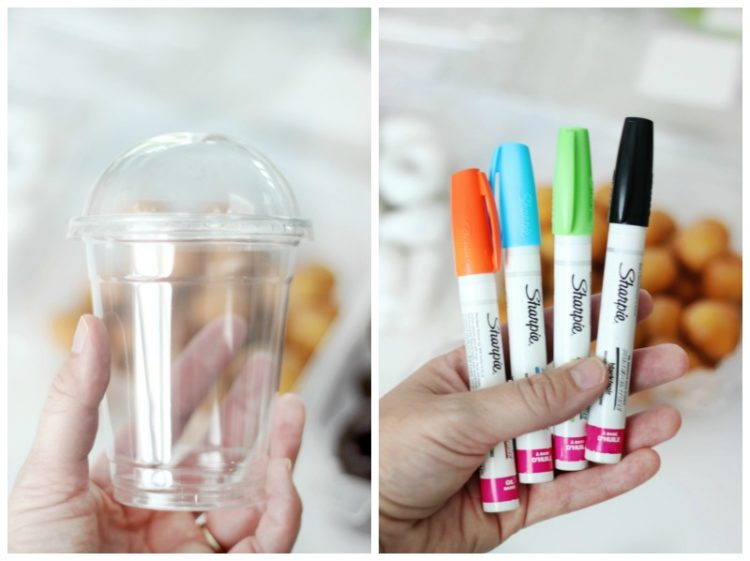 disposable cups with dome lids and sharpie oil pens