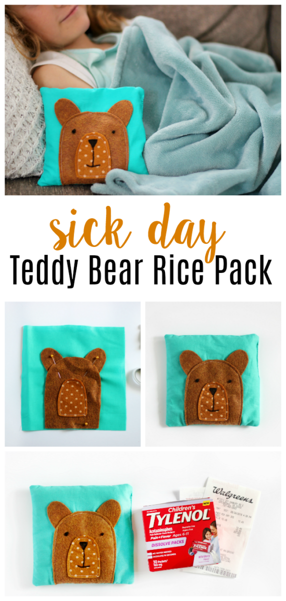 Sick Day Teddy Bear Rice Pack Collage