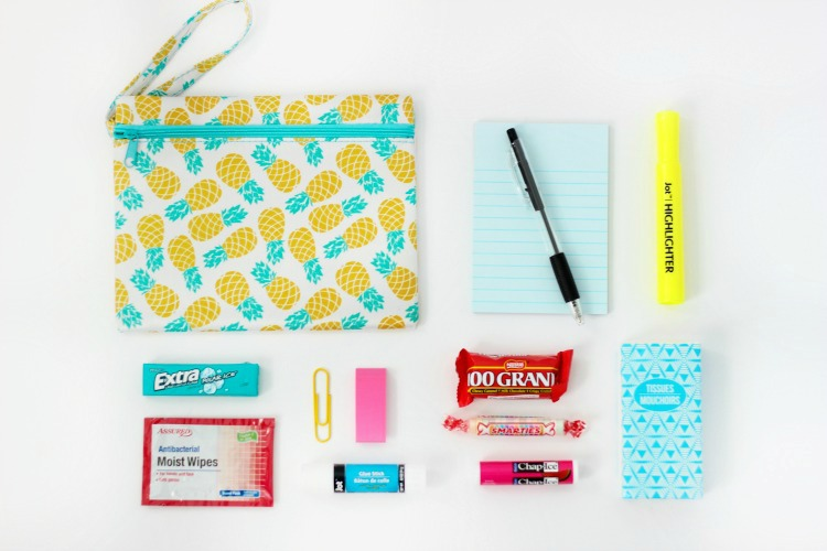 school supplies and cosmetic bag