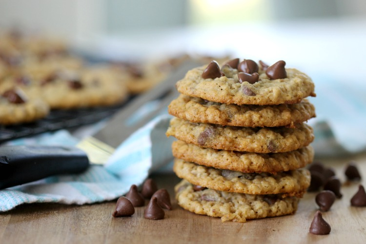 stacked chewy oatmeal cookies