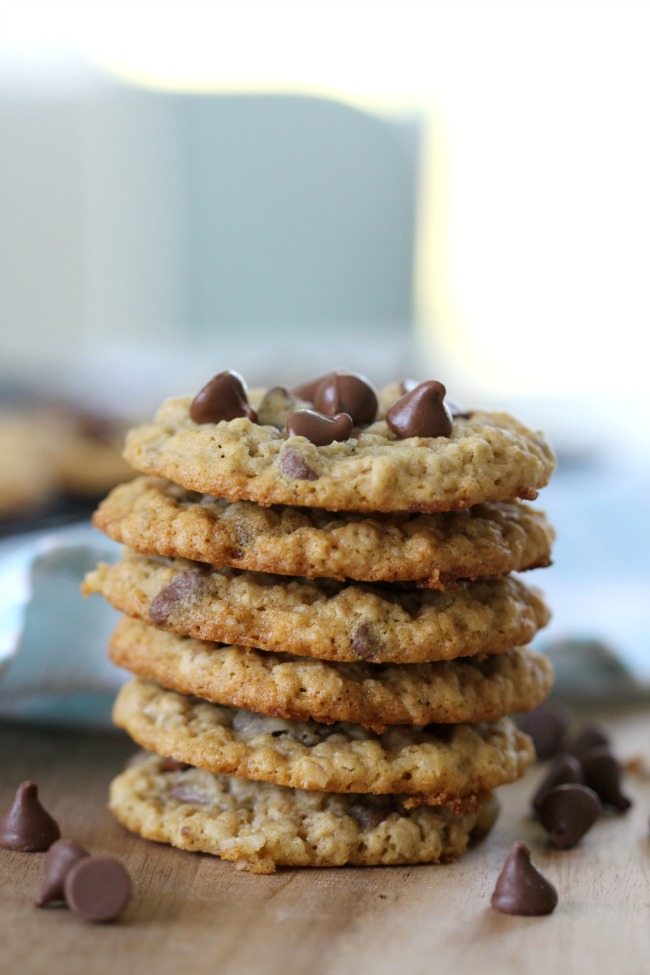 chewy oatmeal chocolate chip cookies with coconut