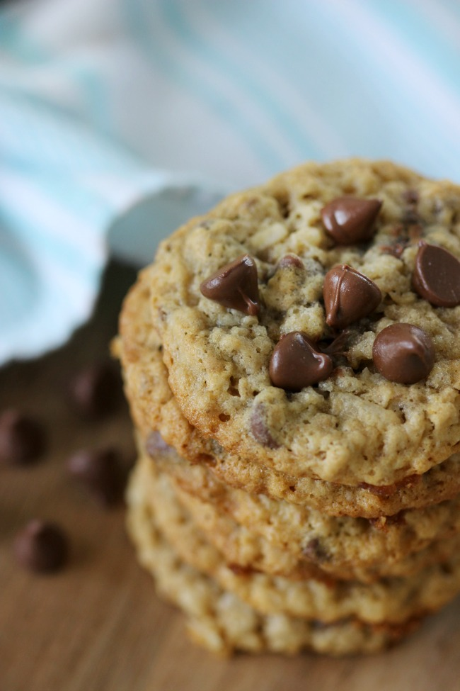 stacked chewy oatmeal chocolate chip cookies with coconut