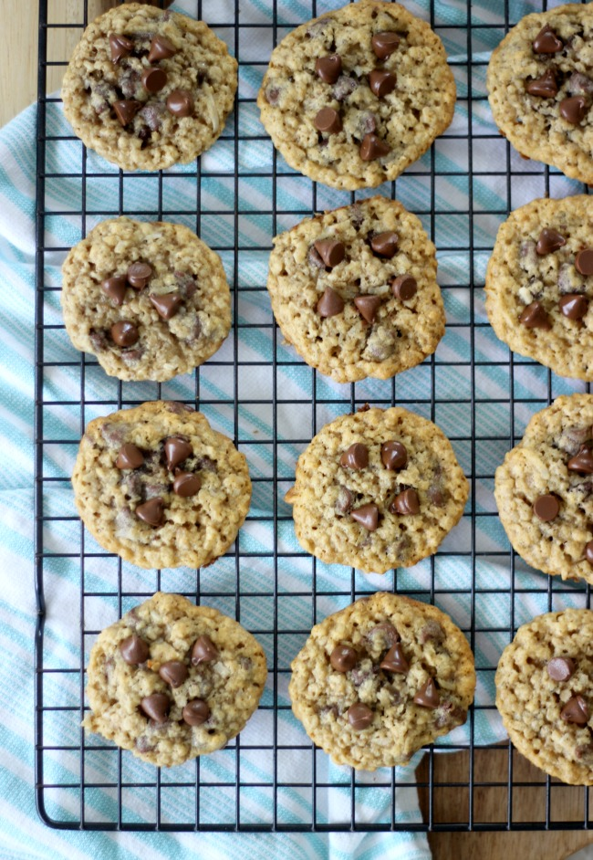 oatmeal coconut chocolate chip cookies on cooling rack