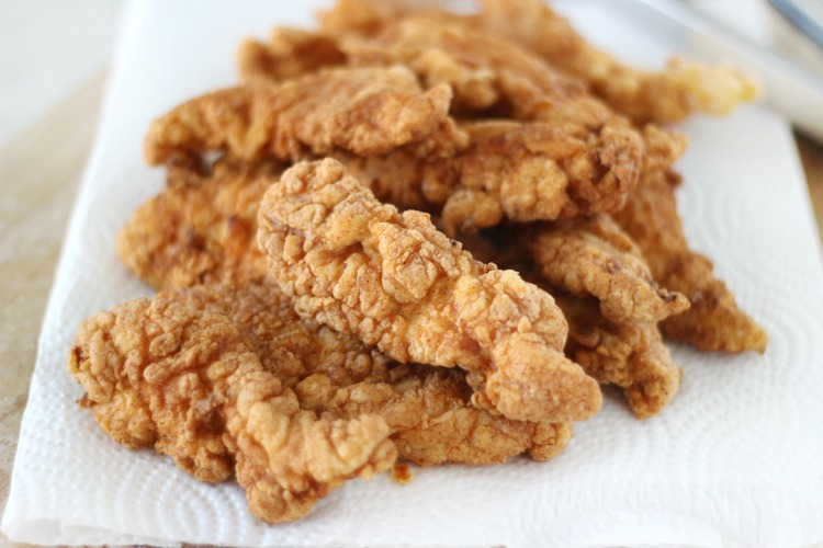 plate of fried chicken tenders