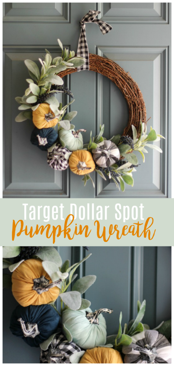 Stop by your local target, grab six $1 pumpkins, then follow our Dollar Spot pumpkin wreath tutorial for a gorgeous wreath to hang on your front door!