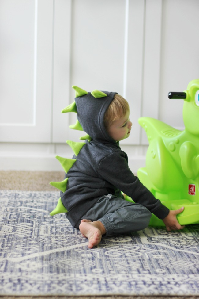side view of toddler dinosaur hoodie