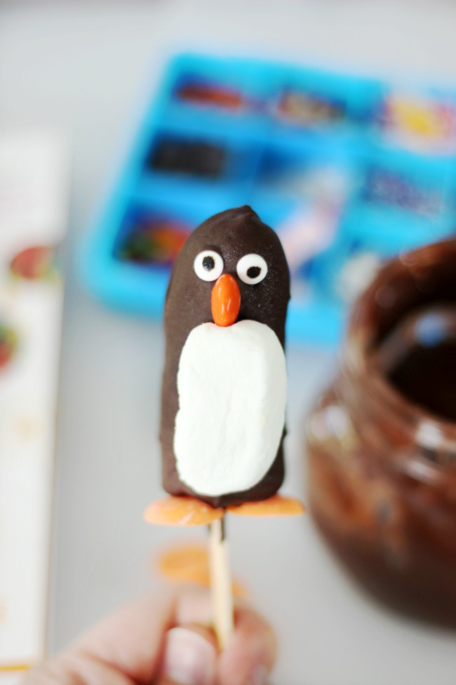 chocolate covered frozen banana penguin
