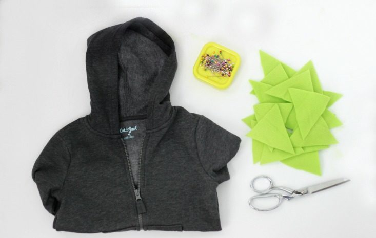 supplies for toddler hoodie tutorial hoodie and fleece triangles