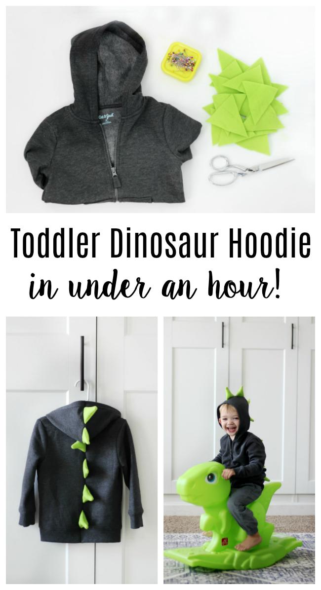 fleece dinosaur hoodie tutorial