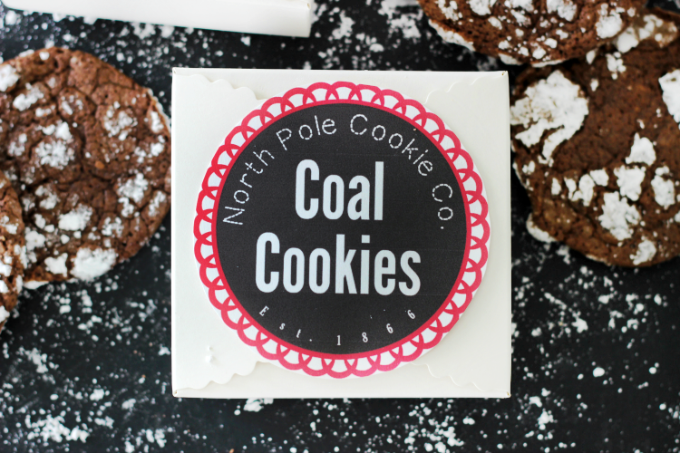 north pole coal cookies in cookie box