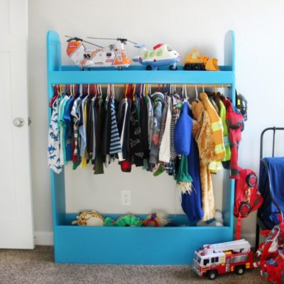 kids dress up closet painted blue