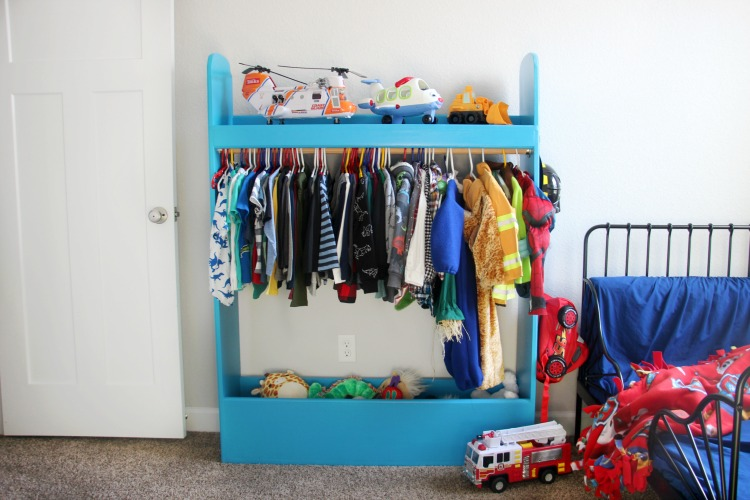 kids dress up closet painted blue
