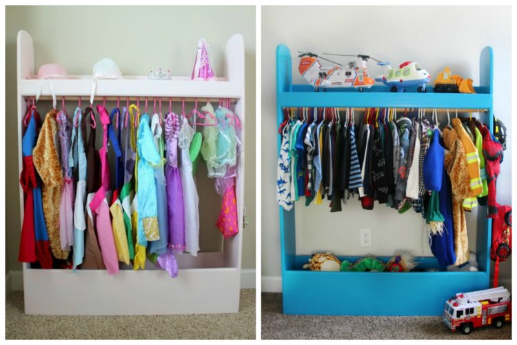 girls and boys storage closet side by side collage