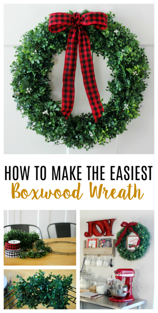 boxwood wreath with buffalo checked ribbon