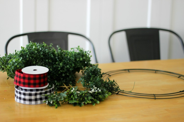 ribbon, garland, wire wreath base