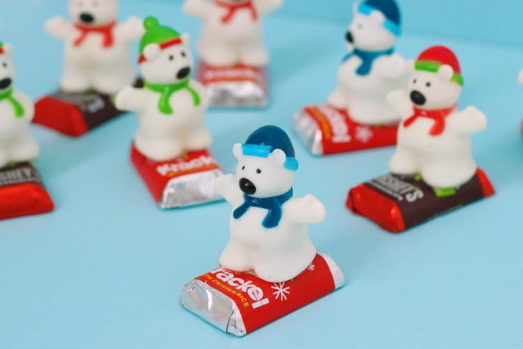 snowboarding polar bear treats for party favors
