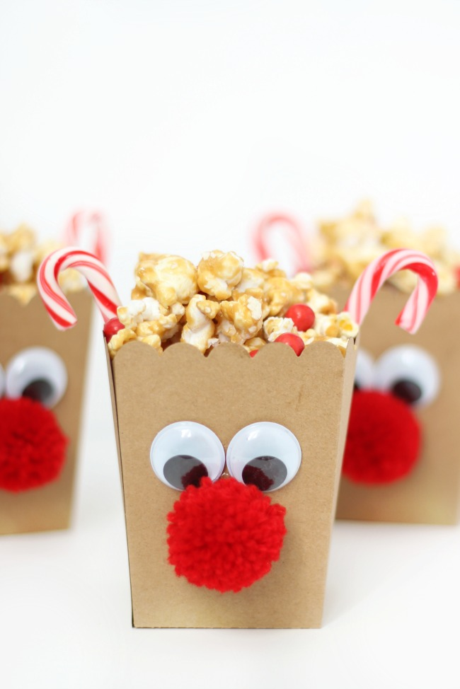 rudolph the red nosed reindeer popcorn boxes with caramel popcorn