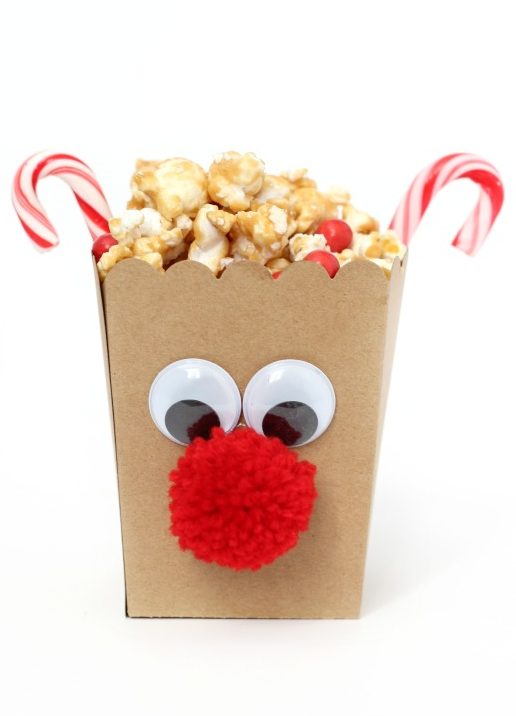 finished reindeer popcorn boxes