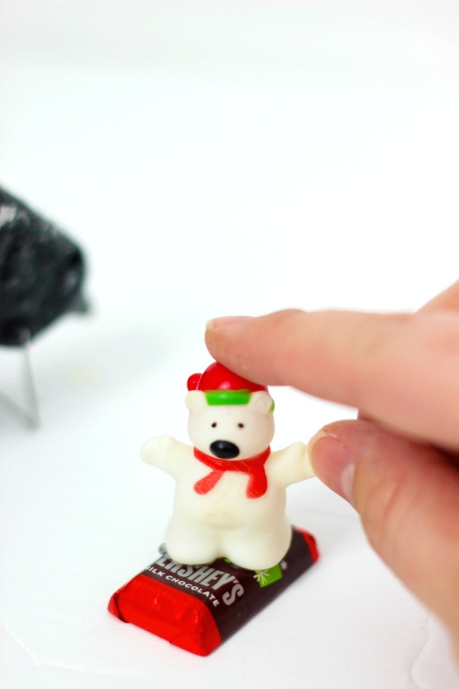 glueing polar bear to mini candy bar