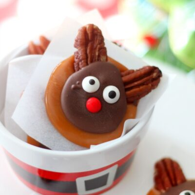 caramel reindeer candy in dish