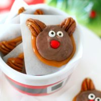 reindeer candies in christmas themed ramekin
