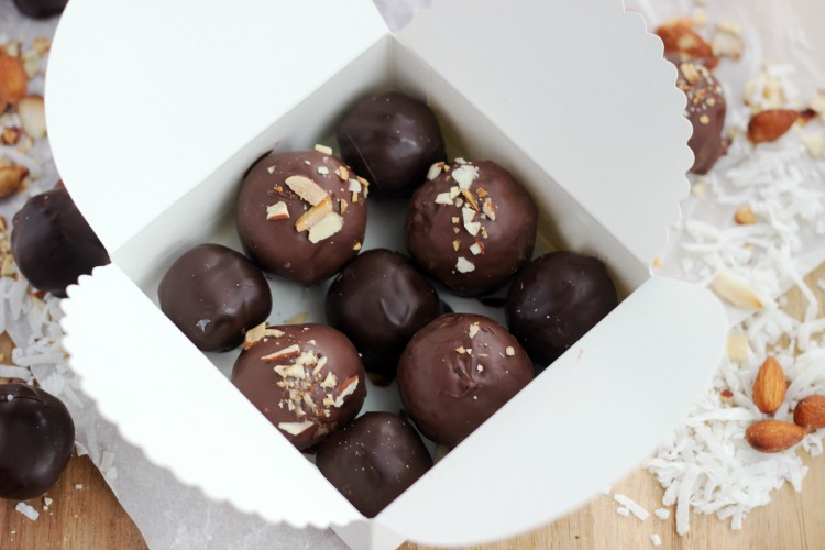 chocolate coconut bites in a box