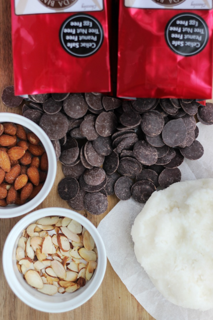 chocoley coconut dough and supplies for making coconut bites