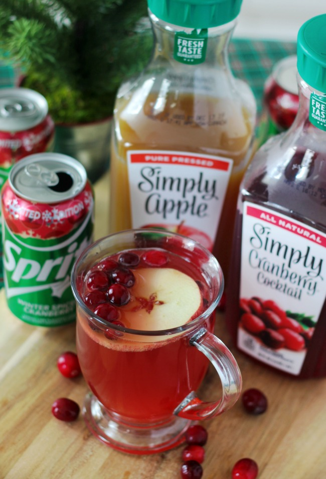 cranberry apple punch in glass cup
