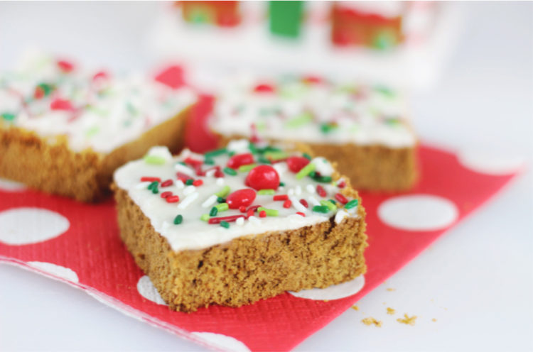 soft gingerbread cookie bars on napkin