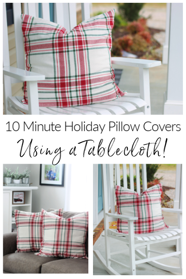 tablecloth pillow cover tutorial