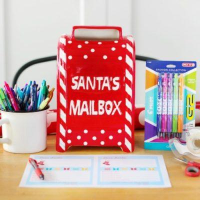 santa mailbox and pens