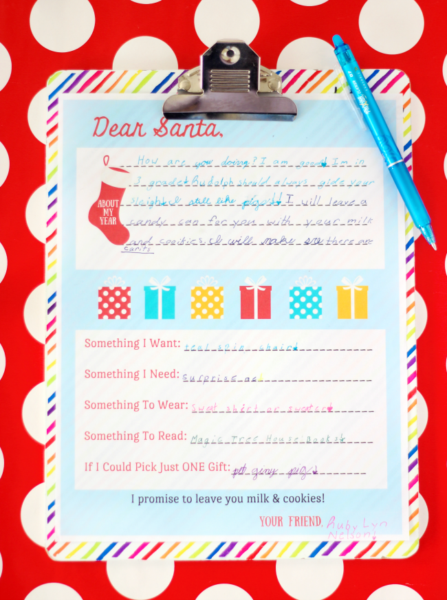letter to santa on clip board