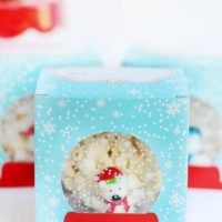 holiday gift box with popcorn ball inside