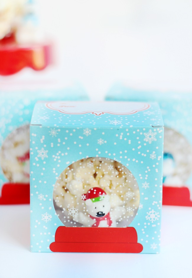 snow globe marshmallow popcorn balls