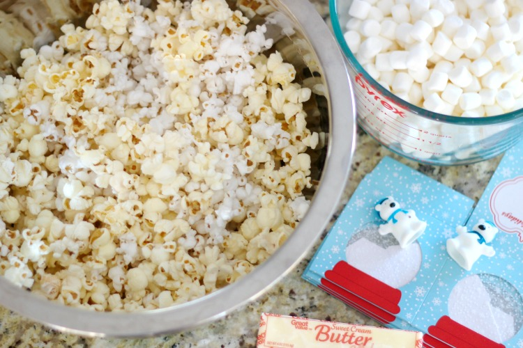 bowl of popcorn, marshmallows and butter