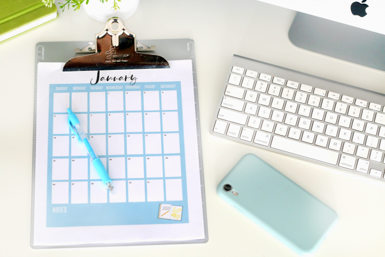 2020 printable calendar pages on a clip board
