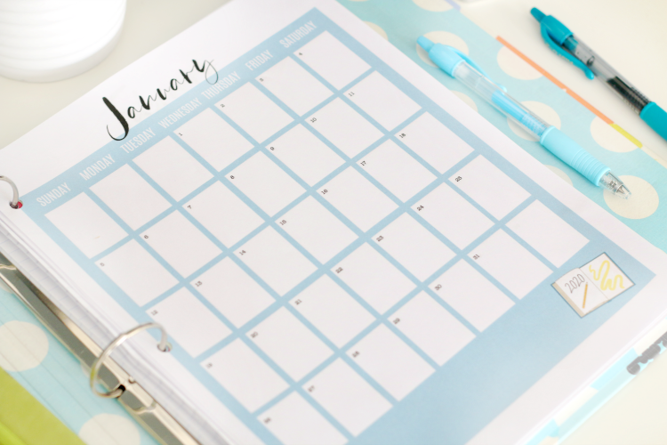 printable calendar pages in a binder