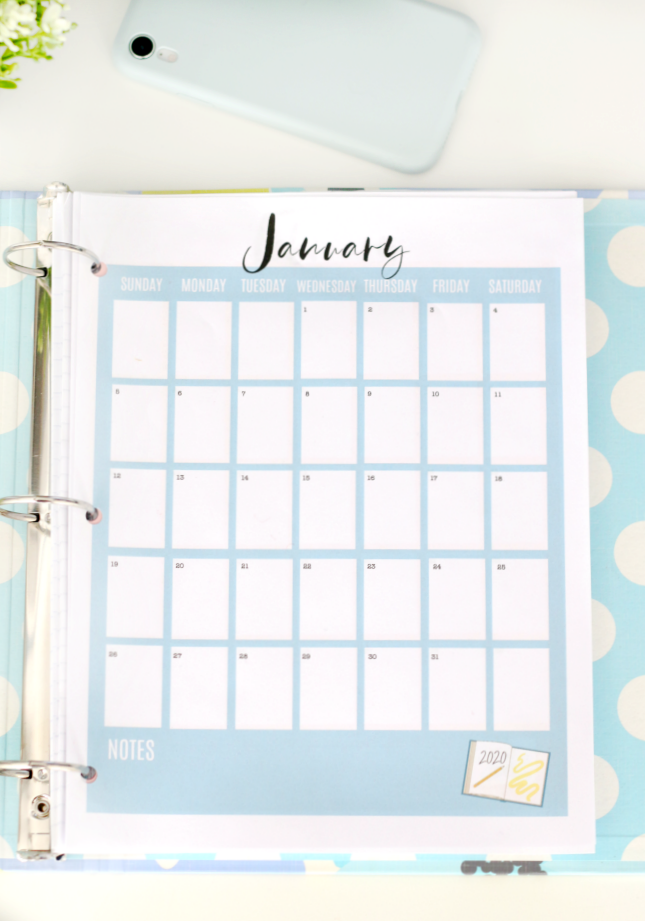 2020 january printable calendar page
