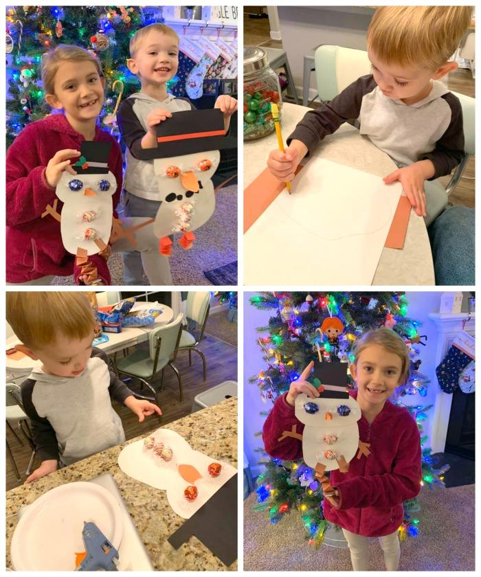 kids making chocolate snowman craft
