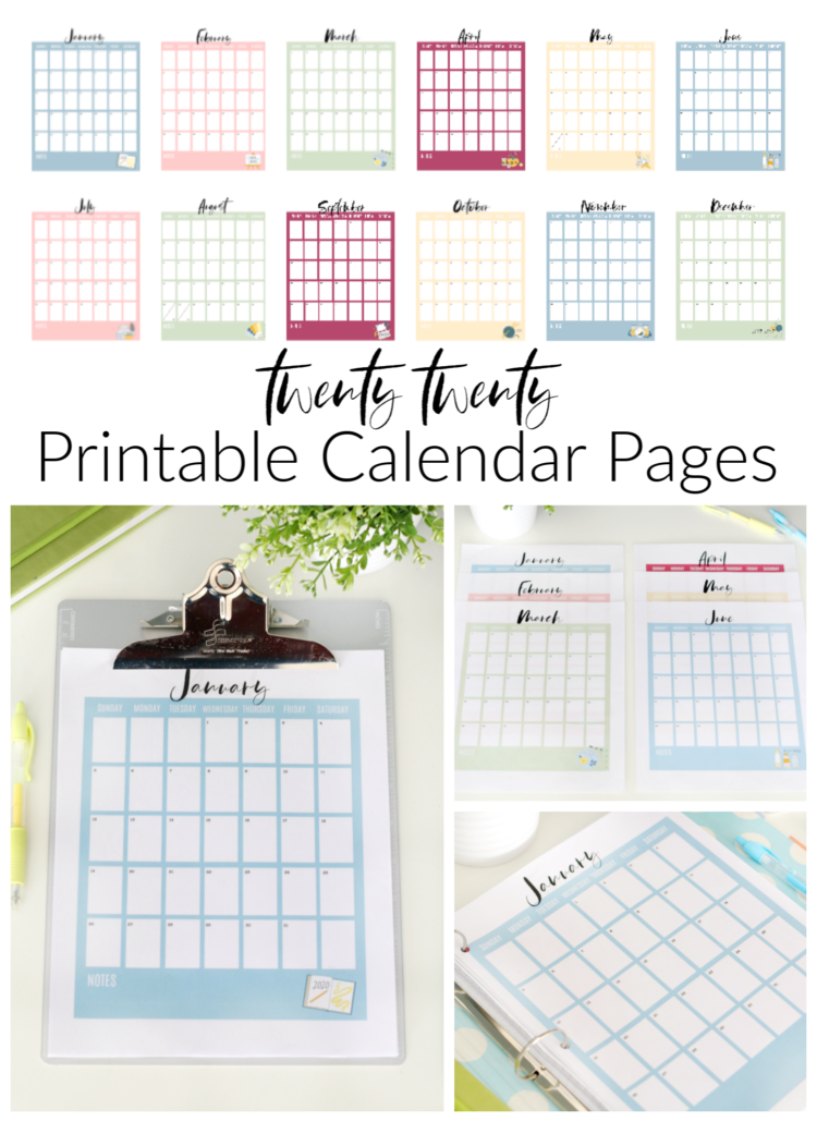 2020 printable calendar pages