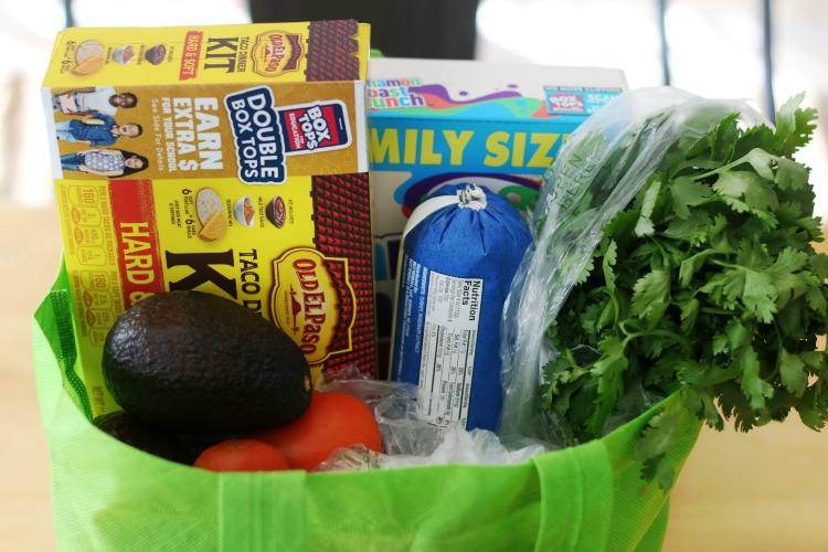 grocery bag with ingredients for double decker tacos