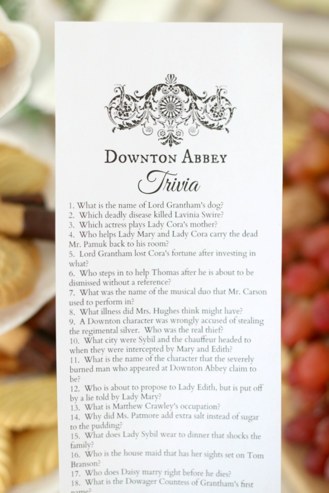 downton abbey motion picture trivia printables