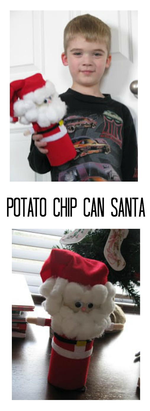 potato chip can Santa