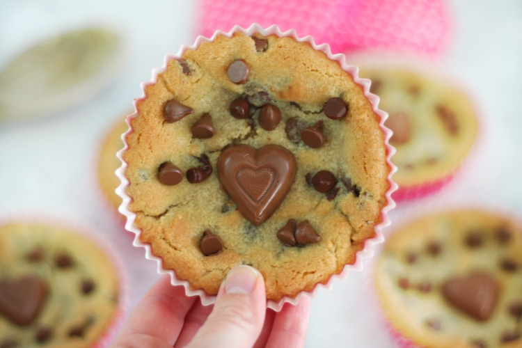 giant chocolate chip cookie with heart chocolates